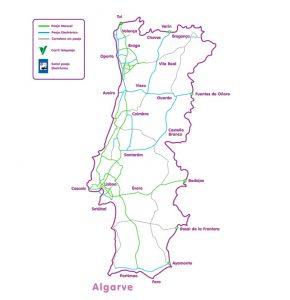 Mapa de autopistas en Portugal