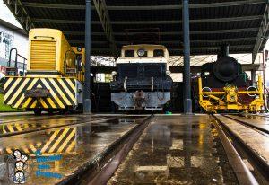 Locomotoras en exterior del museo