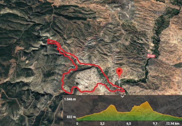 mapa de la ruta al barranco de los trancos