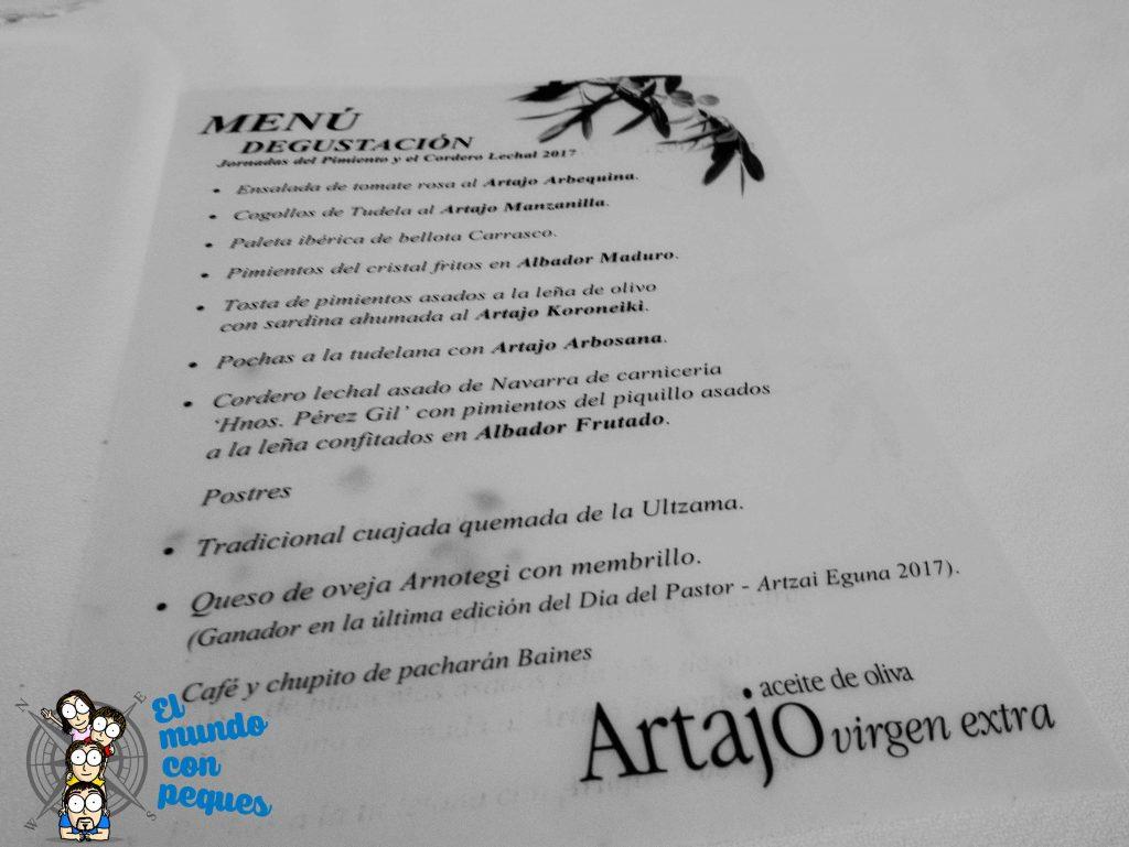 Menú jornada gastronómica Artajo