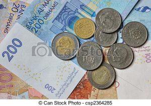 billetes y monedas marroquís
