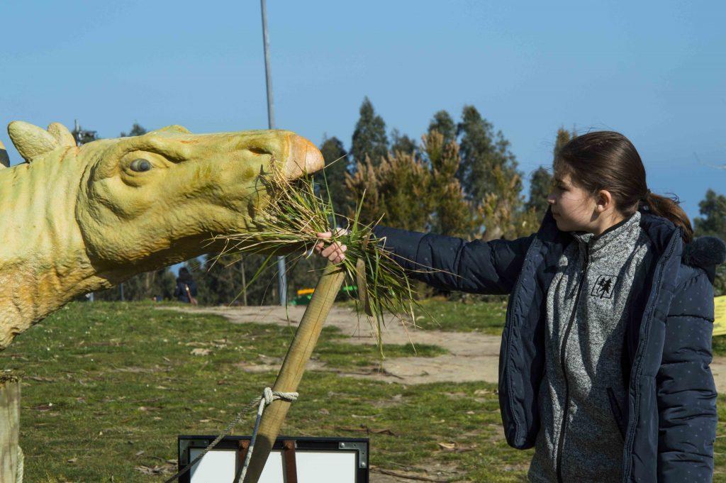 Dando de comer a los grandes dinosaurios herbívoros en el MUJA