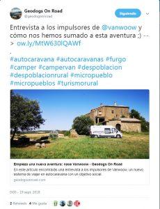 Tuit sobre el proyecto Vanwoow por Geodogs On Road
